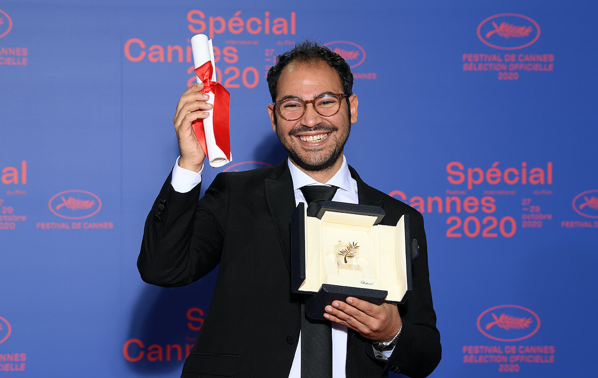 """CANNES, FRANCE - OCTOBER 29: Short film Palme d'Or winner Sameh Alaa attends the Best Short Film Palme D'Or Award Ceremony of the """"Special Cannes 2020 : Le Festival Revient Sur La Croisette !"""" as part of the Cannes Film Festival at Palais des Festivals on October 29, 2020 in Cannes, France. (Photo by Pascal Le Segretain/Getty Images)"""