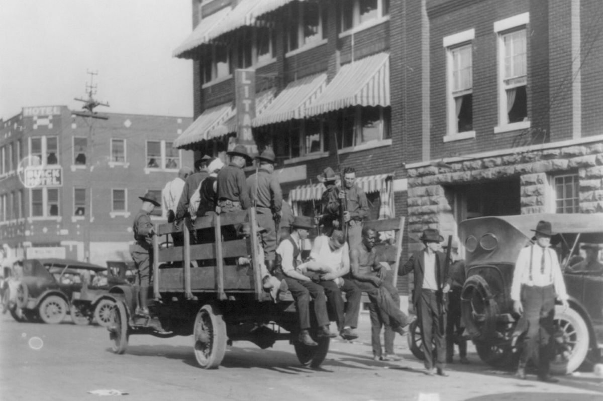 African Americans taken to the Brady Theater during the 1921 Tulsa Race Riots