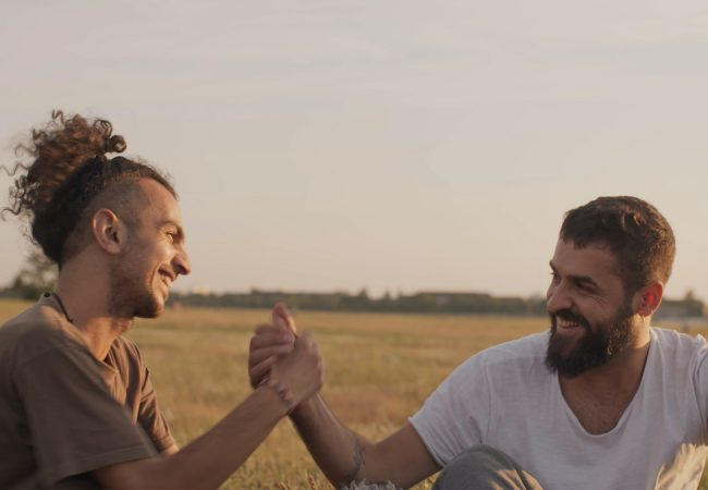 Rapper Abu Hajar and Choreographer Medhat Aldaabal collaborate outside the defunct Tempelhof Airport in Berlin in The Story Won't Die (film stills by Luise Schroeder courtesy of Caesura Media and RaeFilm Studios)