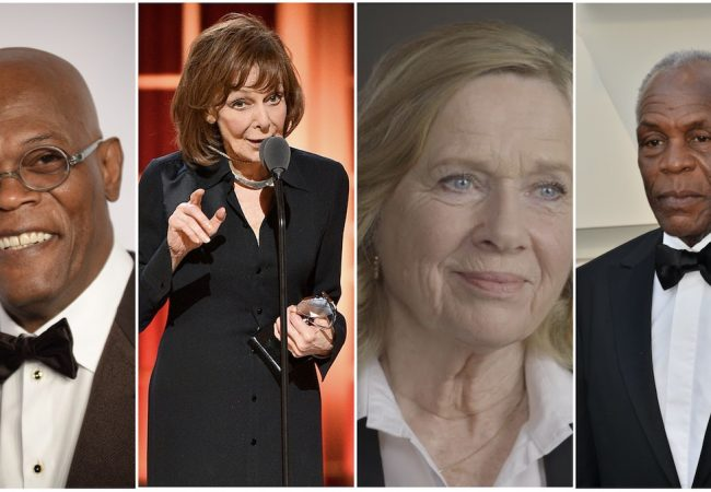 Samuel L. Jackson, Elaine May, Liv Ullmann, and Danny Glover (credit: dp, Theo Wargo/Getty Images for Tony Awards Productions, YouTube, dp)